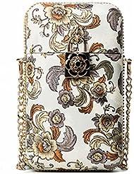 Mujer Golpe de Color de la Flor del teléfono de la moda femenina de la cadena de Hombro Bolso Simple messenger bag blanco