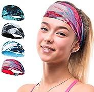 Headband Hairband 4 PACK Double Sleeved Running Cycling Yoga Tennis Gym Crossfit Beach Stretchy Moisture wicki