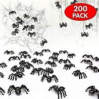 THE TWIDDLERS 200 ragni spaventosi - finti ragni Perfetti come decorazioni per feste di Halloween, regalini, ecc