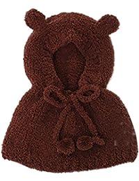 Amurleopard Chale pour bebe enfant en velours bonnet chapeau a capuche