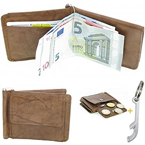 # 2722 Monedero Horizontal Monedero (Color Marrón Claro Piel Dólar Clip