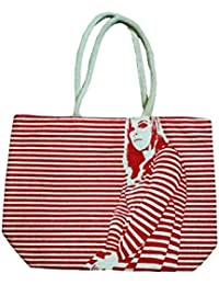 Samyawoven Bag Girl Striped Canvas Tote Shoulder Bag Stylish Shopping Casual Bag Foldaway Travel Bag