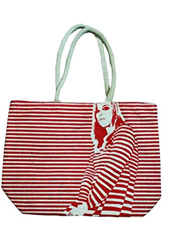 Samyawoven Bag Girl Striped Canvas Tote Shoulder Bag Stylish Shopping Casual Bag Foldaway Travel Bag