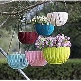 Shree Parshva 5 Pcs Hanging Baskets Rattan Waven Flower Pot Plant Pot With Hanging Chain For Houseplants Garden Balcony Decor