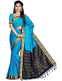 Rani Saahiba Women's Crepe Silk Saree With Blouse Piece (Skr2248, Blue, Free Size)