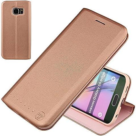 Nouske Samsung Galaxy S6 Edge Funda protectora de tipo Cartera para teléfonos móviles/TPU protección frente a golpes/Estuche para tarjetas de crédito/Soporte/Conciso y Ultra delgado/Hebilla magnética,oro rosa
