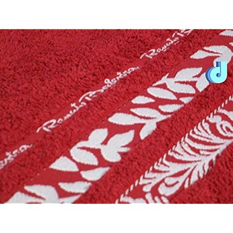 Set asciugamani in spugna di cotone colorati fucsia lilla blu senape ambra rosso