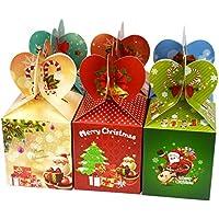 Lot de 12boîtes pour cadeaux, fruits, bonbons avec illustrations mignonnes pour fête de Noël, mariage et fêtes