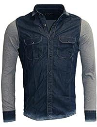Young & Rich Herren Jeans Hemd Slim Fit Washed Look Denim Freizeit Langarm