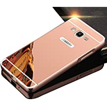 Sunroyal® Premium Funda Para Samsung Galaxy Grand Prime G530 G530H G5308 Bumper Case del Metal Aluminio PC Ultrafina Espejo Efecto [Fusion Mirror] Trasero Cover Protección Gota Tecnología de Absorción de Impactos Carcasa Caso - Rosa Oro