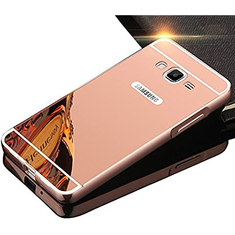 Sunroyal® Premium Funda Para Samsung Galaxy J3 (2016) SM-J320F Bumper Case del Metal Aluminio PC Ultrafina Espejo Efecto [Fusion Mirror] Trasero Cover Protección Gota Tecnología de Absorción de Impactos Carcasa Caso - Rosa Oro