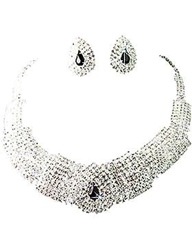 Sanwood Kristall-Halskette, schwarzer Kristall, Schmuck-Set mit Ohrringen