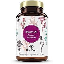 FRAUEN-VITAMINE MINERALIEN 21 Stoffe mit offiziell bestätigter Wirkung auf 45 Körperfunktionen - Vitamine A-Z mit Selen für Schilddrüse, Chrom für Blutzucker - Vegane Kapseln jodfrei