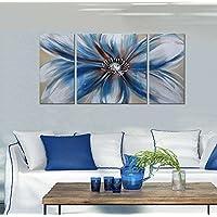 IPLST@ 3 pezzi decorazione della parete, dipinto a mano grande pittura Fiore singolo blu arte olio su tela, Arte moderna della parete per la decorazione sala da pranzo (Nessuna cornice, senza barella)
