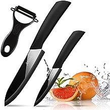 Aicok cuchillos, juego de cuchillos de cerámica. Incluye 2 cuchillos de cocina diferentes y un pelador