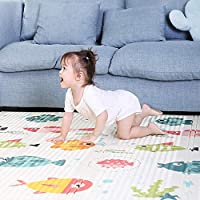 Baby Play Mat 180 * 160cm Foldable Foam Padded Kids Playmat Double-Sided Crawling Mat Waterproof Non Slip Kids Play Rug Cushioned Floor Mat for Toddlers Infants Kids