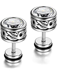 Yellow Chimes White Crystal Steel by Yellow Chimes Cubic Zirconia Stud Earrings for Men (Silver)(YCSSER-067BTTN-SL)