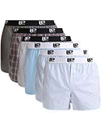 Lower East Men's American Boxer Shorts with Elastic Band, Pack of 6