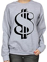 $ Dollar Outline Cash Money Currency Humour Womens Sweatshirt