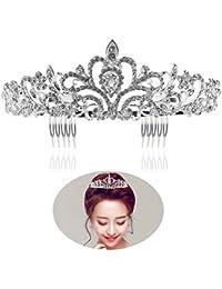 Tinksky Boda novia de diadema corona brillante diadema de diamantes de imitación Tiara de cristal (plata)