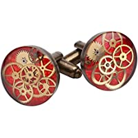 Round Antique Bronze 16mm Steampunk Cufflinks with Cogs and Gears in Red