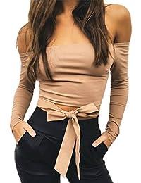 56b82b6200d0 Kolylong® Tops Damen Frauen Elegant Schulterfrei Langarm Sweatshirt Vintage  Lange ärmel Bluse Trägerlos Langarmshirt…
