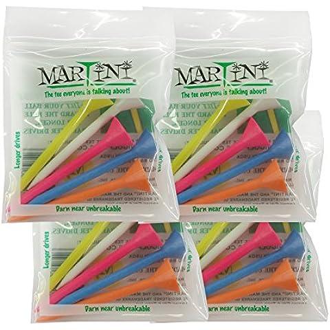 Martini Tee da Golf, 5 colori assortiti, confezione da 4 pezzi)
