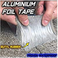 Super Strong Waterproof Butyl Tape for Roof Rubber Aluminium Foil Coating Flashing Repair Tape, Repair Roof Leak, Surface Crack, Window Sill Gap, Pipe Rupture,Etc A (50mm(W) x5M(L) x1.2mm(T))