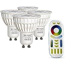 LIGHTEU®, 4x 4W GU10 RGB+CCT LED Spotlight WiFi LED Lamp RGB Color original Mi-light 4 Watt Warm White Dimmable with Remote Control Colour Changing Light Bulb