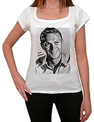 Steve McQueen, tee shirt femme, imprimé célébrité,Blanc, t shirt femme,cadeau
