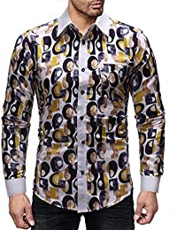 BUSIM Men's Long Sleeve Shirts Fall/Winter Fashion Casual Vintage Prints Lapel Fashion Buttons T-Shirt Tops Comfortable...