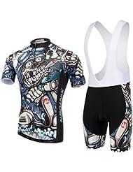 Spoz Men Cycling MTB Cartoon Skull Gel Pad Bid Jersey Set XL