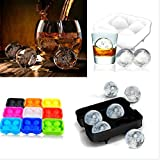 ShopAIS Silicone Whiskey Rounders 2-inch Ice Ball Maker, Standard Size (Assorted)