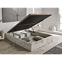 Hogar24.es 3D- Canapé abatible de madera de gran capacidad tapa 3D transpirable color blanco vintage-150x190cm