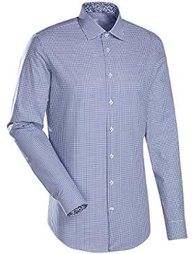 JACQUES BRITT Business Hemd Custom Fit 1/1-Arm Bügelleicht Karo City-Hemd Kent-Kragen Manschette weitenverstellbar