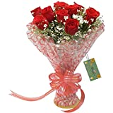 The FloralMart Fresh Flower Bouquet of 08 Red Roses in Cellophane Wrapping