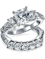 Bling Jewelry de Época Plata de Ley CZ Princesa Compromiso y Boda Juego de Anillos