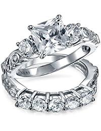 Bling Jewelry Estilo Vintage Ronda CZ compromiso conjunto de anillo de bodas de plata