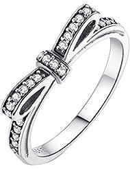 Plata de ley Blanco Cubic Zircon para pandora lazo anillo