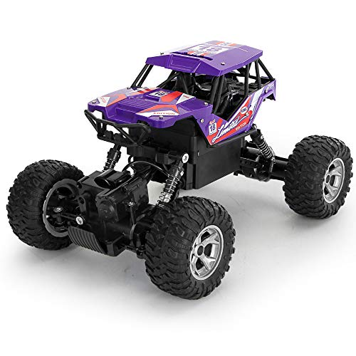ACOC RC Cars, Ferngesteuertes Auto, Rabing Off-Road-Rock-Fahrzeug-Raupen-LKW 2,4 Ghz 4WD High Speed Doppelmotor Funkfernsteuerung Rennwagen Elektro Fast Race Buggy Hobby Auto,Purple
