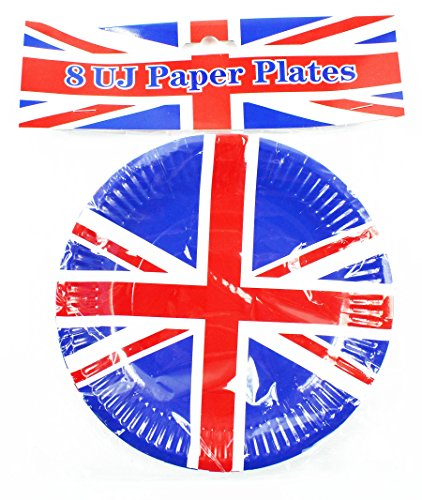Union Jack 8 Pack Small Paper Plates Royal Wedding Football Party Tableware GB