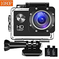 ??�Upgraded???BUIEJDOG Action Camera 1080P 16MP WiFi 30m Waterproof Underwater Sports Cam with 170°Wide Angle Lens 2 Rechargeable Batteries and Mounting Accessories Kits