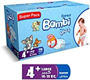 Sanita Bambi Baby Diapers Super Pack, Size 4+, Large Plus, 10-18 kg, 116 Count