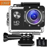 BUIEJDOG Action Cam 1080P 16MP Full HD Unterwasser Aktion kamera wasserdicht Action Camera 170 ° Weitwinkel 30 Meter Unterwasserkamera Wasserdicht mit 2 Akkus und Zubehör Kits