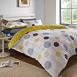 Just Contempo lunares funda de edredón–Juego de ropa de cama, color lima y gris