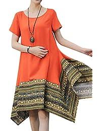 P Ammy Fashion Women s Summer Cotton Linen Short Sleeve Tee Shirt Dress  Irregular Hem Tunic 4a859a85b812