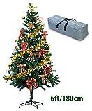 Sapin de Noël Artificiel Arbre de Noël de 180cm avec un Sac de Rangement et 27pcs Décorations, Support en Métal et 650 PVC Branches