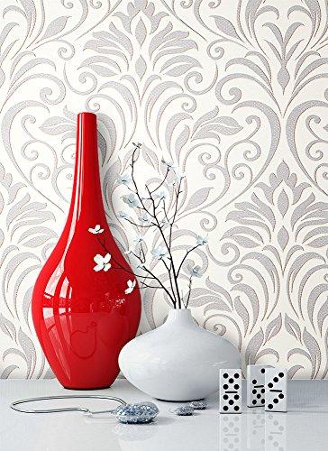 newroom barocco sfondo grigio carta da parati in tessuto non tessuto bianco crema barocco, classico bella moderna e design elegante, incluso tapezier Rat GEBER