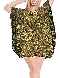 LA LEELA Robes de Plage Grande Taille Tunique Pull Femme Kimono Bohême Mode  Mousseline de Soie fbdf4ed65ca