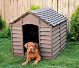 Starplast Outdoor Plastic Garden Dog Kennel Pet Shelter Winter House Durable Large Rust Free 50-701 Chocolate and Mocha